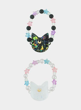 Sailor Moon Luna & Artemis Star Bead Best Friend Bracelet Set