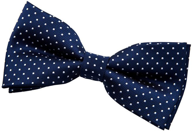 "Retreez Modern Mini Polka Dots Woven Microfiber Pre-tied Bow Tie (4.5"") - Navy Blue with White Dots at Amazon Men's Clothing store:"