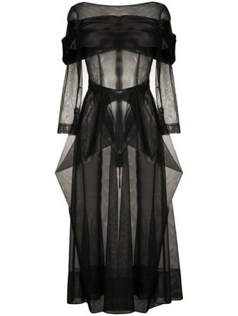 Shop black Simone Rocha semi-sheer mid-length dress with Express Delivery - Farfetch