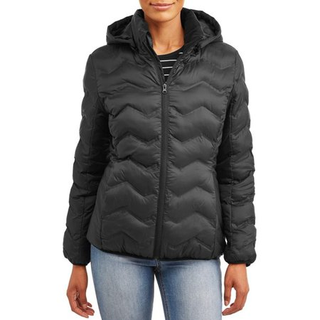 Time and Tru - Time and Tru Women's Puffer Coat with Hood - Walmart.com - Walmart.com
