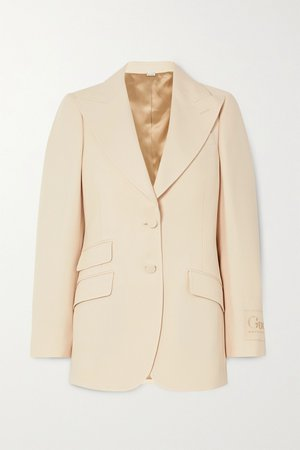 Cream Appliquéd silk and wool-blend blazer | Gucci | NET-A-PORTER