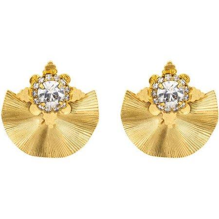Yellow Gold Fan Earrings
