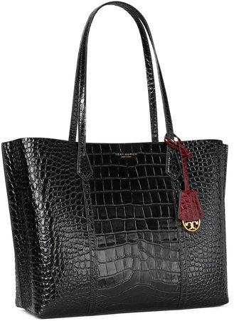 Perry Embossed Triple-Compartment Tote Bag