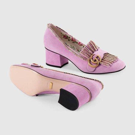 Suede mid-heel pump with crystals - Gucci Women's Pumps 501002DE8G05860