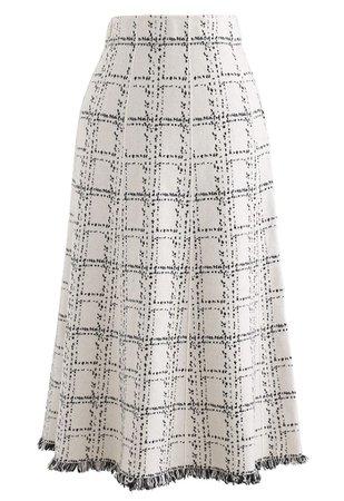 Grid Fringe Hem Knit Skirt in Ivory - Retro, Indie and Unique Fashion