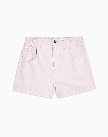 Topshop high-waist paperbag denim shorts in pink   ASOS
