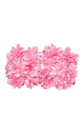 Pink 3D Floral Bandeau Bikini Top | Swimwear | PrettyLittleThing
