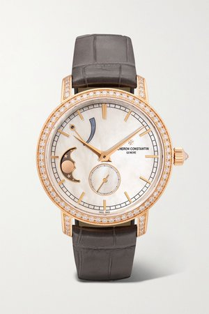 Rose gold Traditionnelle 36mm 18-karat pink gold, alligator, diamond and mother-of-pearl watch | Vacheron Constantin | NET-A-PORTER