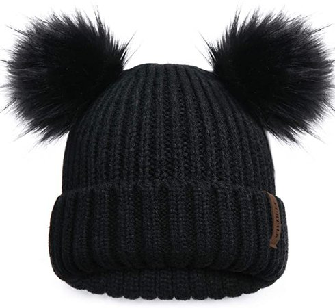 FURTALK Cute Winter Beanie Hats for Women Girls Warm Knit Hats with Double Faux Fur Pom Poms Black at Amazon Women's Clothing store