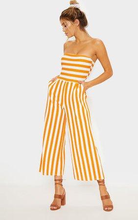 Mustard Contrast Stripe Bandeau Culotte Jumpsuit | PrettyLittleThing