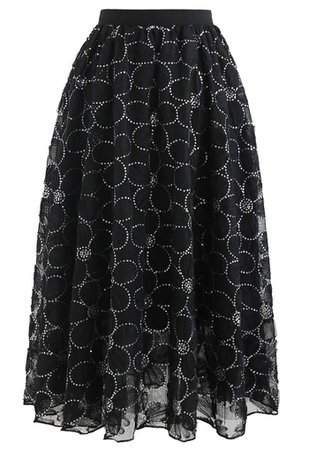 Floral Sequin Double-Layered Mesh Skirt in Black - Retro, Indie and Unique Fashion