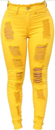 Yellow Ripped Jeans
