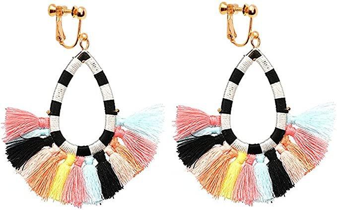 Amazon.com: Clip on Dangle Tassel Earrings Long Fringe Drop Bohemian Chandelier Beaded Women Colorful: Clothing