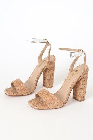 Cute High Heel Sandals - Cork Sandals - Cork Wrapped Sandals