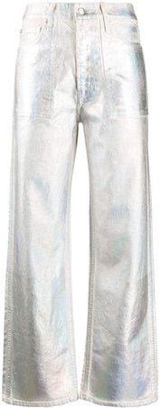 metallic wide-leg trousers