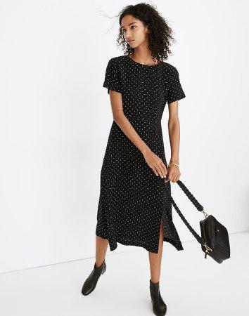 Silk Crewneck Midi Dress in Polka Dot