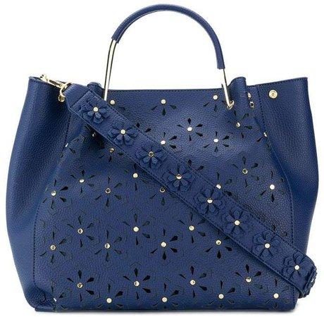 studded floral shoulder bag