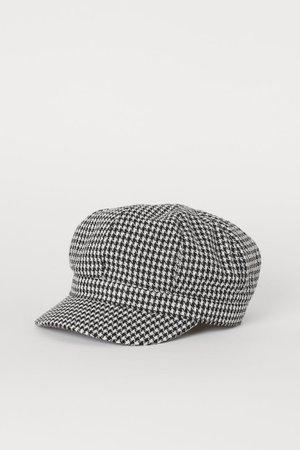 Captain's Cap - White/houndstooth-patterned -   H&M US
