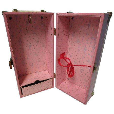 "Vintage 13"" H Pink Metal Doll Trunk Case : The Vintage Sewing Box | Ruby Lane"
