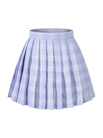 Lavender plaid pleated skirt