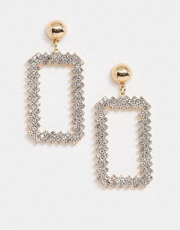 True Decadence drop earrings in crystal square | ASOS