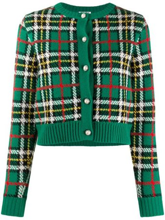 Miu Miu Knitted Check Pattern Wool Cardigan - Farfetch