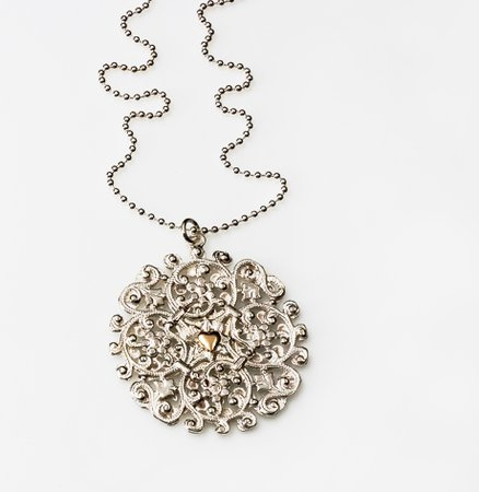 Silver necklace with pendant ball | Mazal - Luxury jewelry