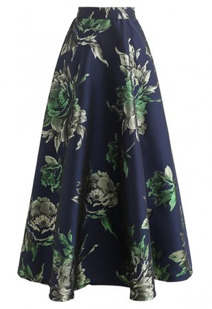 Glittery Peony Jacquard Maxi Skirt in Navy - NEW ARRIVALS - Retro, Indie and Unique Fashion