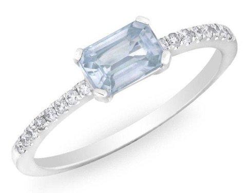 WHITE GOLD BLUE SAPPHIRE DIAMOND MADELINE RING