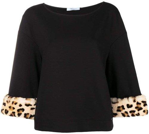 leopard print cuff sweatshirt
