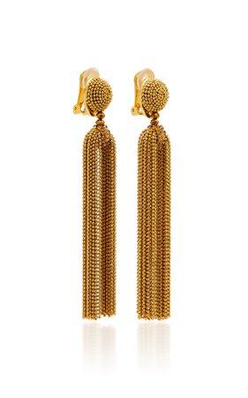 Brass And Crystal Clip Earrings by Oscar de la Renta | Moda Operandi