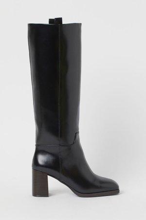 Block-heeled Boots - Black