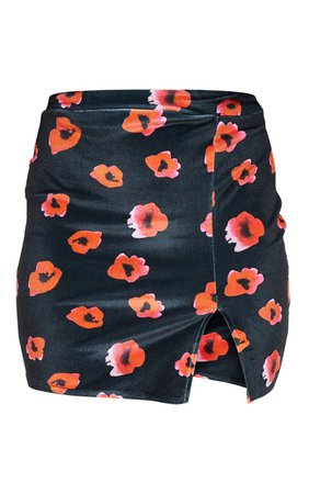 Black Floral Print Velvet Split Mini Skirt | PrettyLittleThing USA