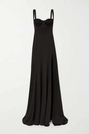 Black Satin maxi dress | Mugler | NET-A-PORTER