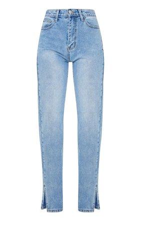 Mid Blue Wash Split Hem Straight Leg Jeans   PrettyLittleThing