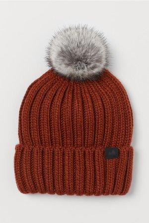 Ribbed Hat - Brick red -   H&M US