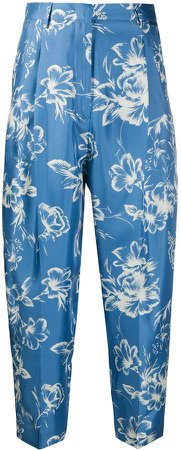 Floral Print Cropped Trousers