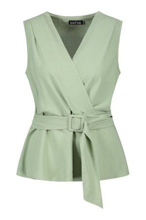 Woven Wrap Assymetric Belted Blouse | boohoo