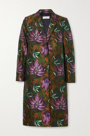 Floral-jacquard Coat - Army green