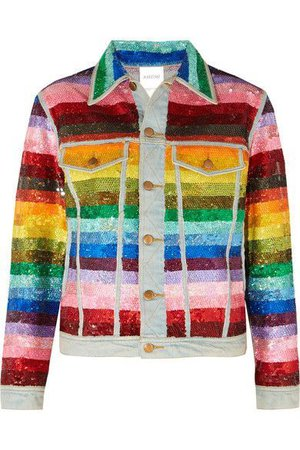 Striped Sequined Denim Jacket