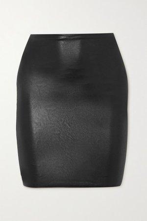 Faux Stretch-leather Mini Skirt - Black