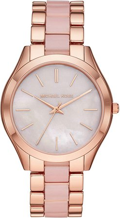 Amazon.com: Michael Kors Women's Slim Runway Quartz Watch with Stainless-Steel-Plated Strap, red, 20 (Model: MK3895): Clothing