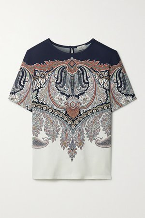 Paisley-print Crepe Top - Cream
