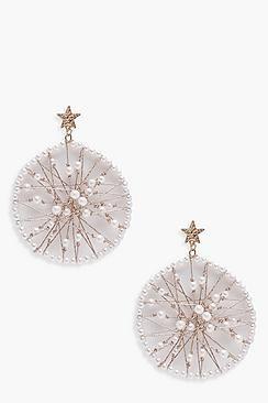 Star Stud Pearl Earrings