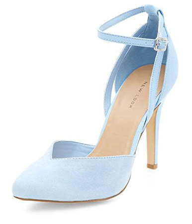 light blue heel with strap