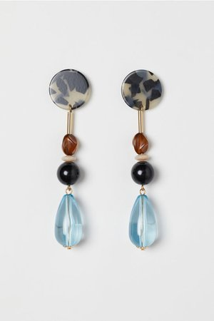 Long Earrings - Gold-colored/light blue - Ladies | H&M US