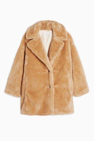 TALL Camel Soft Borg Coat   Topshop