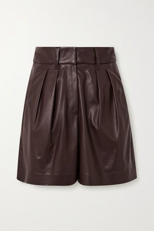 Pleated Leather Shorts - Brown