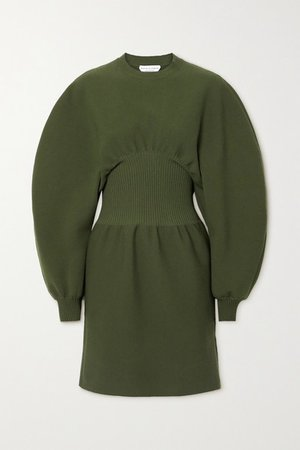Ribbed Wool-blend Mini Dress - Green