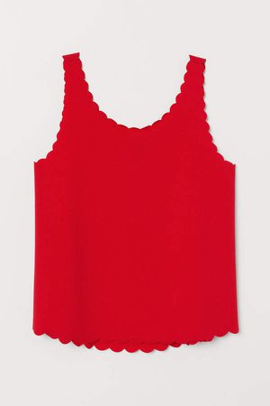 Scallop-edged Tank Top - Red